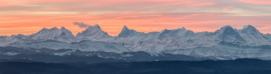 sunrise in the swiss alps