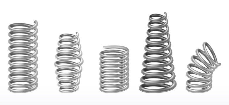 Realistic metal springs, chrome spiral bounce wire
