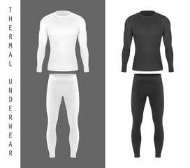Thermal underwear top shirt and pants mockup