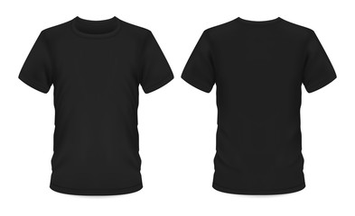 Fototapeta Mockup template, men black t-shirt short sleeve obraz