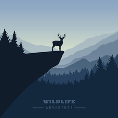 wildlife adventure elk in the wilderness on a cliff vector illustration EPS10