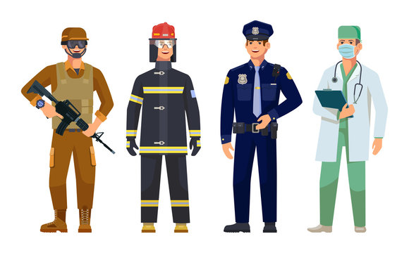 Doctor, policeman, fireman, military guard men