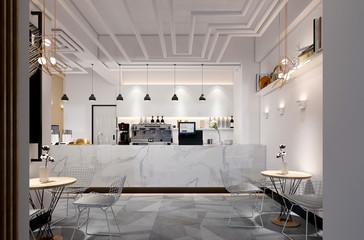 3d render of cafe and restaurant