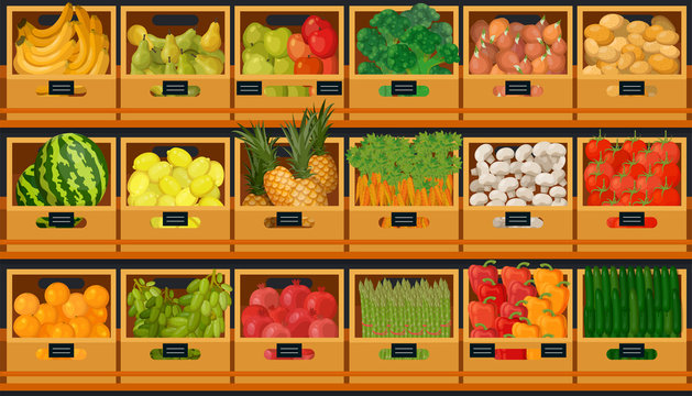Grocery store shelves with fruits and vegetables