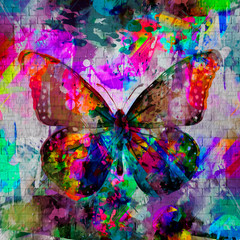 abstract multicolored splashes with butterflies, digital illustration