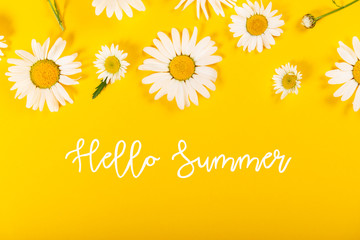 Foto op Canvas Bloemen Floral camomile pattern with Hello Summer slogan on bright yellow background, top view, flat lay
