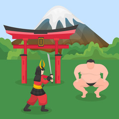 Japanese asian national symbols people sumo wrestler, samurai with katana sword vector illustration. Japanese traditional fighters in nature background of mount Fuji and gate.