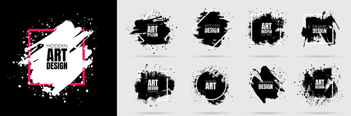 Photo sur Aluminium Forme Vector background for text. Grunge banners set. Black paint. Brush ink stroke. Isolated square white frame. Element for design poster, cover, invitation, gift card, flyer, social media, promotion.