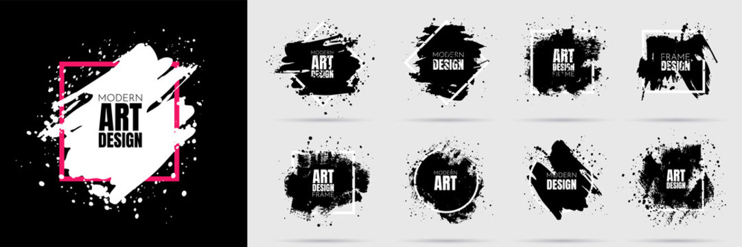Vector background for text. Grunge banners set. Black paint. Brush ink stroke. Isolated square white frame. Element for design poster, cover, invitation, gift card, flyer, social media, promotion.