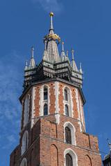 Beautiful Basilica of St. Mary's (13th century) in historical center of Krakow - Market Square (Rynek Glowny). Krakow, Poland.