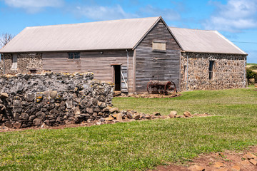 Stanley, Tasmania, Australia - December 15, 2009: Hightfield Historic Site. Gray-brown wooden barn with stone annex on green lawn up front and under blue sky. some rusty agriculture machine.