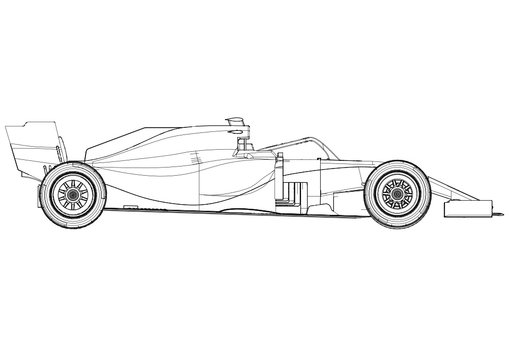 Silhouette F1 Car Vector