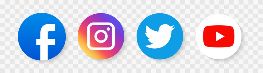 Social media icons illustration. facebook, twitter instagram and telegram, skype, youtube logo