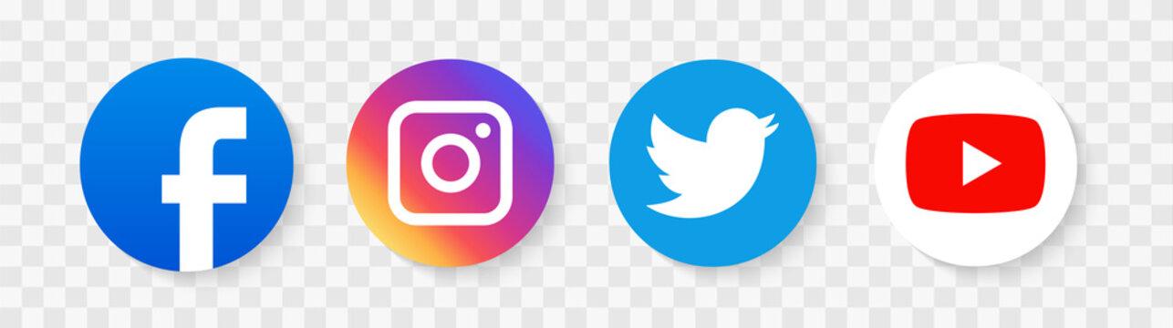 Social media icons illustration. facebook, twitter instagram and telegram, skype, youtube logo