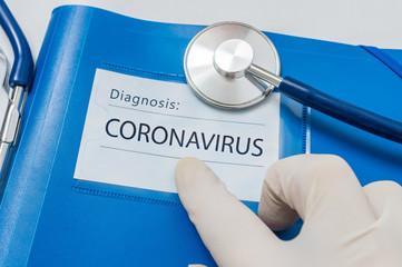 Novel coronavirus disease 2019-nCoV written on blue folder.