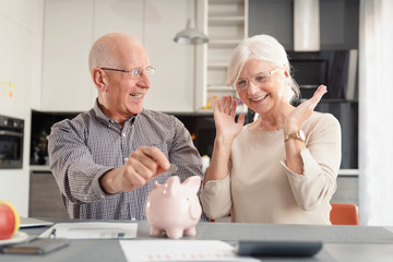 Senior couple putting coin into piggy bank