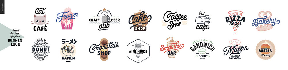 Logo - cafe and restaurants. Cat cafe, frozen yoghurt bar, donut, ramen, craft beer pub, cake, chocolate, wine house, coffee shop, smoothie bar, sandwich, pizza, bakery, muffins, cupcakes, burger