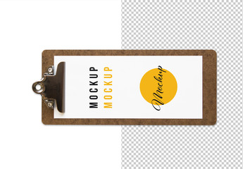 Long Wooden Menu Clipboard Top View Mockup