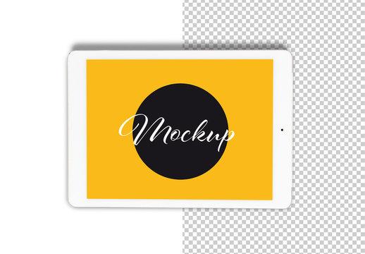 White Horizontal Tablet Top View Mockup