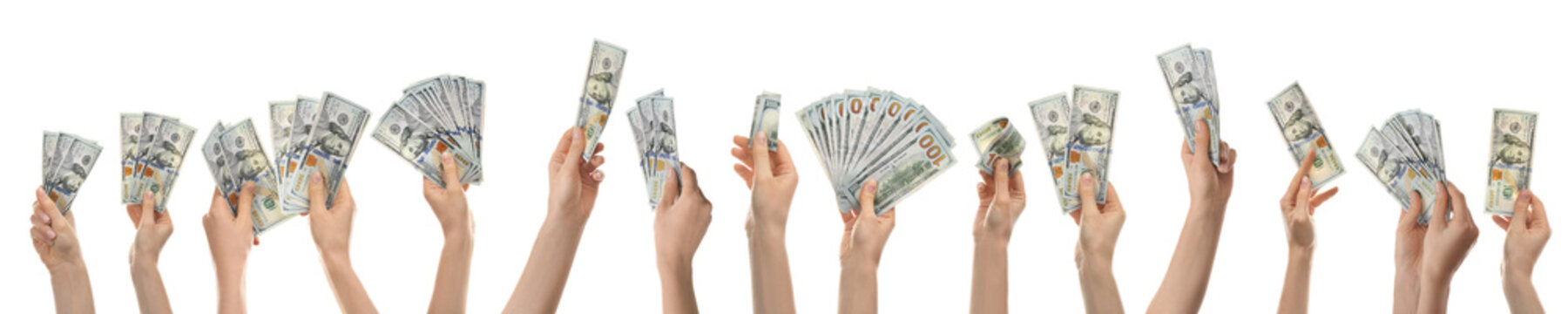 Collage of women with money on white background, closeup. American dollars