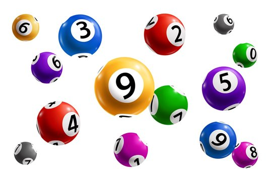 Bingo, lotto and keno lottery balls with numbers