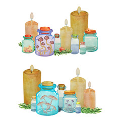 Watercolor composition with candles, medicinal bottles and jars of mushrooms.Bottles with Amanita mushrooms, herbs and potions. Alchemist laboratory concept with witchcraft ingredients and home remedi