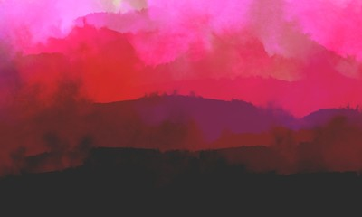 Photo sur Aluminium Rose Fantastic mist landscape in crimson tones. Glow.