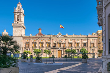 Plaza Tetuan with the Santo Domingo Convent and Captaincy General in Valencia, Spain