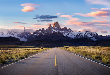 Sunset on Road to El Chalten - view of Mt Fitzroy and Cerro Torre