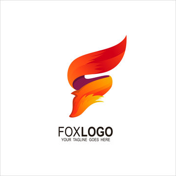 Fox logo, F logo with animal design template, Letter F icon