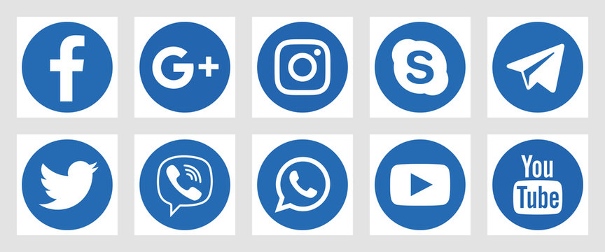 VORONEZH, RUSSIA - JANUARY 16, 2020: Set of flat round social media icons in blue colors. Facebook, Twitter, Instagram, YouTube, Skype, Telegram and others