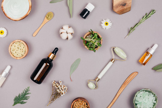 Cosmetics and natural ingredients for healthy skin and face. Pattern. Flat lay style.