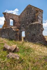 Closeup of building ruins at Highfield Historic site in Stanley, Tasmania, Australia.