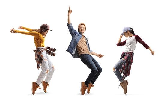Three young dancers dancing street-dance
