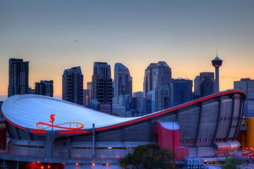 Scotiabank Saddledome and Sunset Over Downtown Calgary
