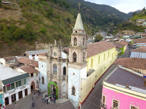 Aerial view of the parish of San Simón apostle in Angangueo town