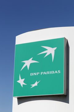 Villefranche, France - March 14, 2018: BNP Paribas is a French multinational bank and financial services company with global headquarters in Paris