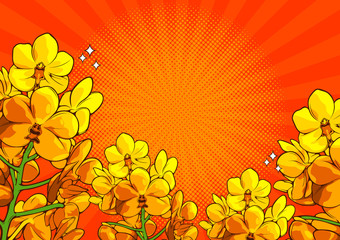 Foto op Aluminium Pop Art Vector illustration of a realistic flower drawing, comic style, cover template on orange color background, EPS10.
