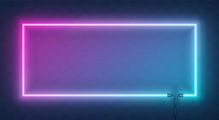 Neon horizontal rectangle frame, border with wire. Neon lights sign. Vector abstract background, tunnel, portal. Geometric glow outline rectangular shape, laser glowing lines. Abstract background