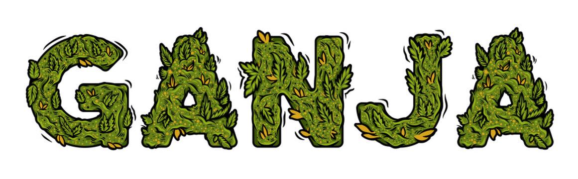 """lettering design weed inscription """"GANJA"""