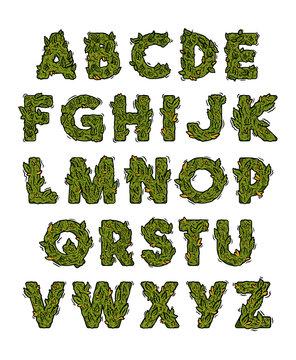 Decorative green marijuana alphabet design