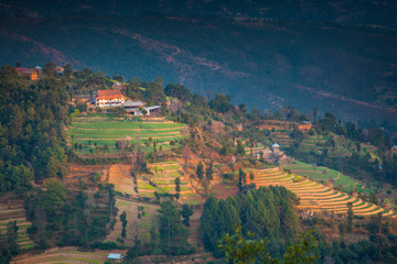 Terraced fields among Tamang villages in the hills above Kathmandu Valley, Nepal.