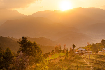 A home perched on the terraced hillsides near Namo Buddha in the hills above Kathmandu Valley, Nepal.