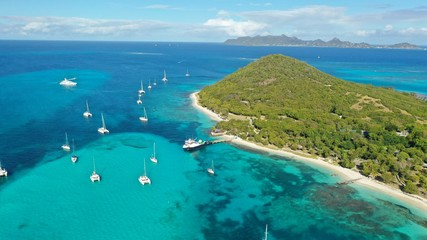 Caribbean sea and islands, aerial view, St. Vincent & Grenadines