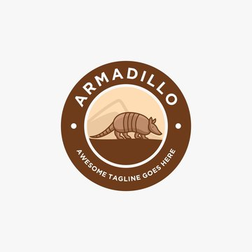 Vector Logo Illustration Armadillo Walking Vintage Badge