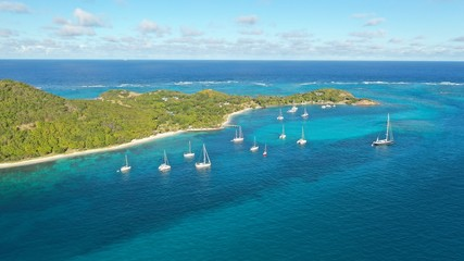 Caribbean Islands and sea, aerial view, St Vincent & Grenadines