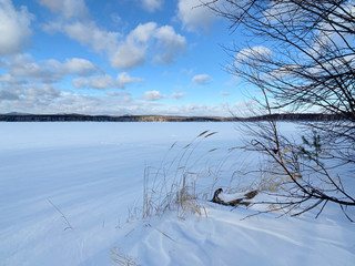 Russia, Chelyabinsk region. Nature monument - lake Uvildy in winter in sunny day