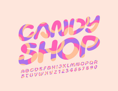 Vector creative logo Candy Shop. Colorful Font with Graphic Style. Artistic Alphabet Letters and Numbers.