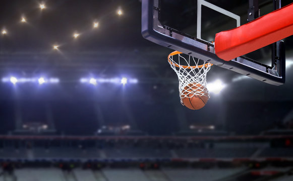 Basketball shot to the hoop in a competitive game
