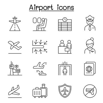 Airport, aviation icon set in thin line style
